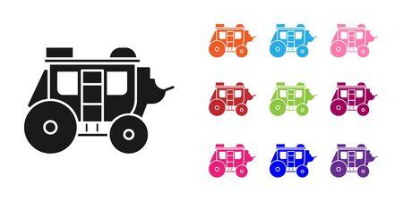 Black Western stagecoach icon isolated on white background. Set icons colorful. Vector Illustration Illustration
