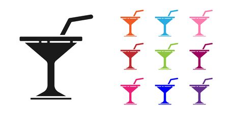 Black Martini glass icon isolated on white background. Cocktail icon. Wine glass icon. Set icons colorful. Vector Illustration