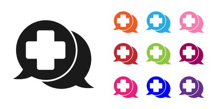 Black Dialogue with the doctor icon isolated on white background. Doctor and patient dialog. Consulting about medical health services. Set icons colorful. Vector Illustration