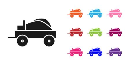 Black Wild west covered wagon icon isolated on white background. Set icons colorful. Vector Illustration Vecteurs