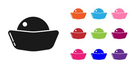 Black Sushi icon isolated on white background. Traditional Japanese food. Set icons colorful. Vector Illustration Vecteurs