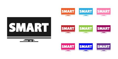 Black Screen tv with Smart video technology icon isolated on white background. Set icons colorful. Vector Illustration Illustration