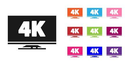 Télévision à écran noir avec icône de technologie vidéo 4k Ultra HD isolée sur fond blanc. Définir des icônes colorées. Illustration vectorielle