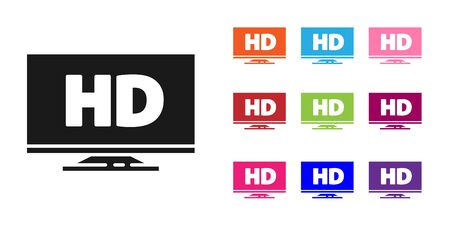 Black Smart display with HD video technology icon isolated on white background. Set icons colorful. Vector Illustration