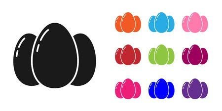 Black Easter eggs icon isolated on white background. Happy Easter. Set icons colorful. Vector Illustration Ilustração