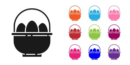 Black Basket with easter eggs icon isolated on white background. Happy Easter. Set icons colorful. Vector Illustration