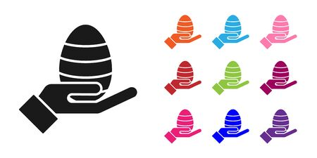 Black Human hand and easter egg icon isolated on white background. Happy Easter. Set icons colorful. Vector Illustration
