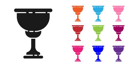 Black Christian chalice icon isolated on white background. Christianity icon. Happy Easter. Set icons colorful. Vector Illustration