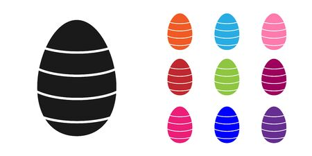 Black Easter egg icon isolated on white background. Happy Easter. Set icons colorful. Vector Illustration