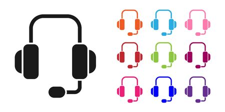 Black Headphones icon isolated on white background. Support customer service, hotline, call center, faq, maintenance. Set icons colorful. Vector Illustration Vettoriali