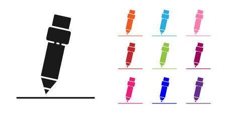 Black Pencil with eraser icon isolated on white background. Drawing and educational tools. School office symbol. Set icons colorful. Vector Illustration