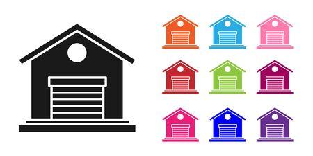 Black Warehouse icon isolated on white background. Set icons colorful. Vector Illustration