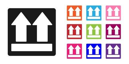 Black This side up icon isolated on white background. Two arrows indicating top side of packaging. Cargo handled. Set icons colorful. Vector Illustration