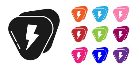 Black Guitar pick icon isolated on white background. Musical instrument. Set icons colorful. Vector Illustration