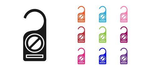 Black Please do not disturb icon isolated on white background. Hotel Door Hanger Tags. Set icons colorful. Vector Illustration 向量圖像