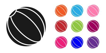 Black Beach ball icon isolated on white background. Set icons colorful. Vector Illustration