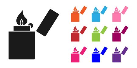 Black Lighter icon isolated on white background. Set icons colorful. Vector Illustration