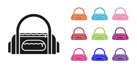 Black Sport bag icon isolated on white background. Set icons colorful. Vector Illustration