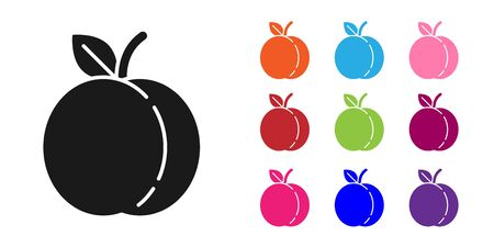 Black Peach fruit or nectarine with leaf icon isolated on white background. Set icons colorful. Vector Illustration 矢量图像