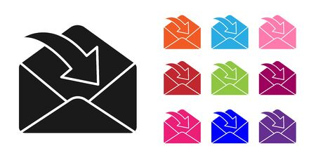 Black Envelope icon isolated on white background. Received message concept. New, email incoming message, sms. Mail delivery service. Set icons colorful. Vector Illustration