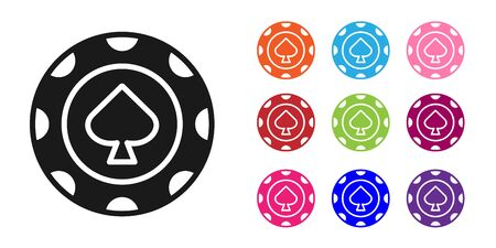 Black Casino chips icon isolated on white background. Casino gambling. Set icons colorful. Vector Illustration
