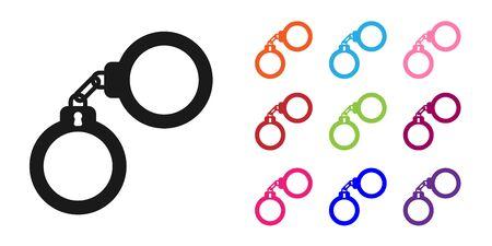 Icône de menottes noir isolé sur fond blanc. Définir des icônes colorées. Illustration vectorielle