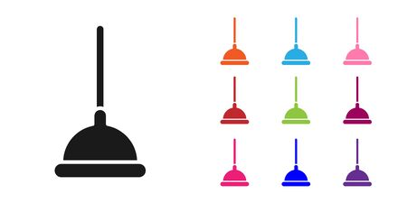 Black Rubber plunger with wooden handle for pipe cleaning icon isolated on white background. Toilet plunger. Set icons colorful. Vector Illustration