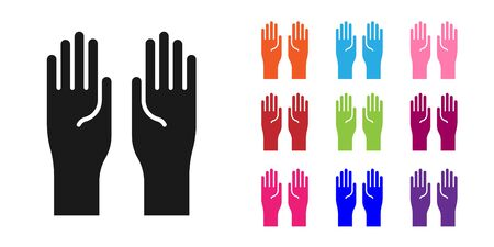 Black Rubber gloves icon isolated on white background. Latex hand protection sign. Housework cleaning equipment symbol. Set icons colorful. Vector Illustration 向量圖像
