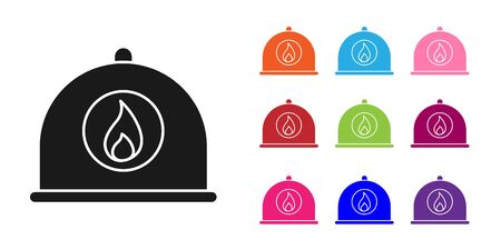 Black Firefighter helmet or fireman hat icon isolated on white background. Set icons colorful. Vector Illustration