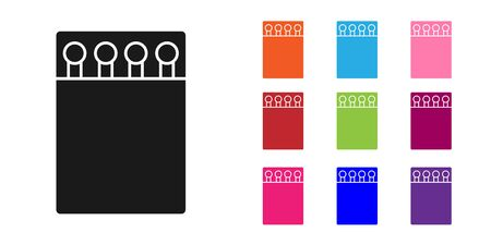 Black Open matchbox and matches icon isolated on white background. Set icons colorful. Vector Illustration Ilustração
