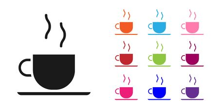 Black Coffee cup icon isolated on white background. Tea cup. Hot drink coffee. Set icons colorful. Vector Illustration