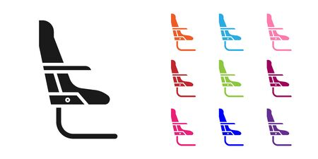 Black Airplane seat icon isolated on white background. Set icons colorful. Vector Illustration