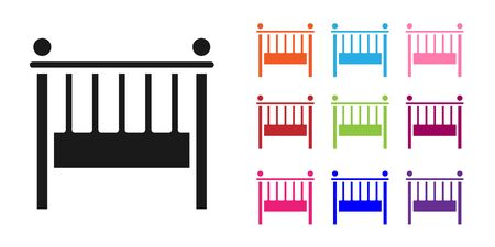 Black Baby crib cradle bed icon isolated on white background. Set icons colorful. Vector Illustration