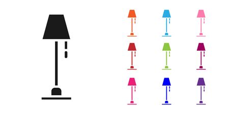 Black Floor lamp icon isolated on white background. Set icons colorful. Vector Illustration