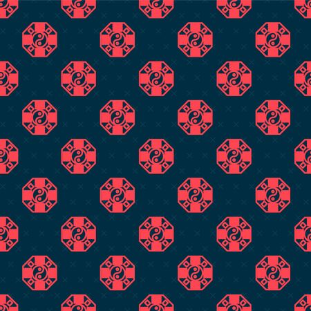 Red line Yin Yang symbol of harmony and balance icon isolated seamless pattern on black background. Vector Illustration 矢量图像