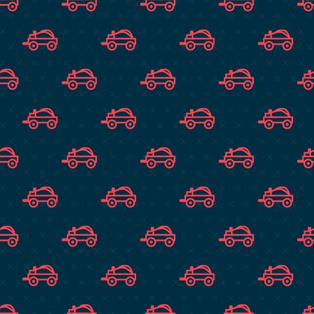 Red line Wild west covered wagon icon isolated seamless pattern on black background. Vector Illustration