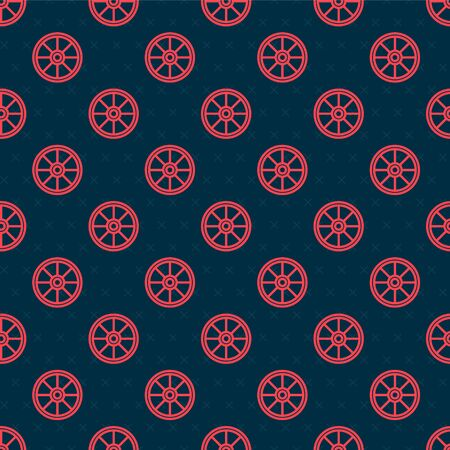 Red line Old wooden wheel icon isolated seamless pattern on black background. Vector Illustration Banco de Imagens - 142106102