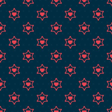 Red line Hexagram sheriff icon isolated seamless pattern on black background. Police badge icon. Vector Illustration
