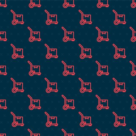 Red line Hand truck and boxes icon isolated seamless pattern on black background. Dolly symbol. Vector Illustration