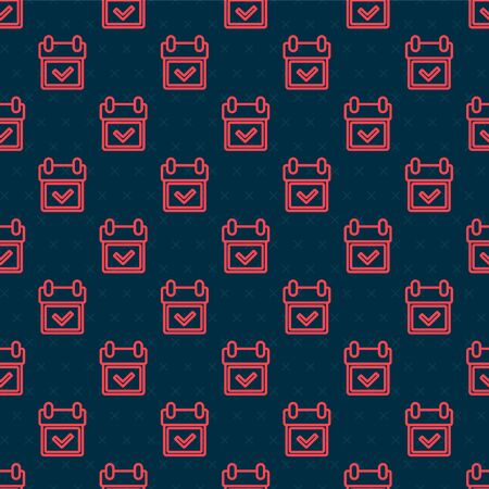 Red line Calendar with check mark icon isolated seamless pattern on black background. Vector Illustration