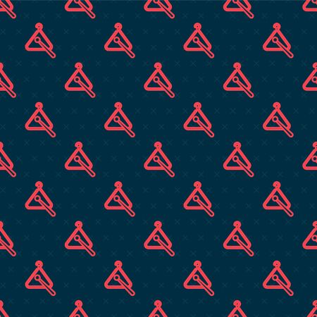 Red line Triangle musical instrument icon isolated seamless pattern on black background. Vector Illustration Иллюстрация
