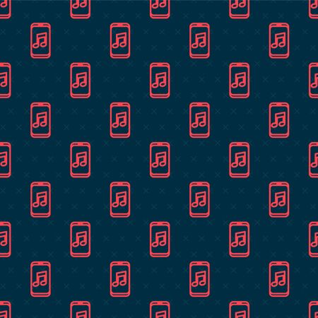 Red line Music player icon isolated seamless pattern on black background. Portable music device. Vector Illustration