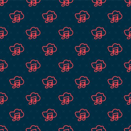 Red line Music streaming service icon isolated seamless pattern on black background. Sound cloud computing, online media streaming, song, audio wave. Vector Illustration
