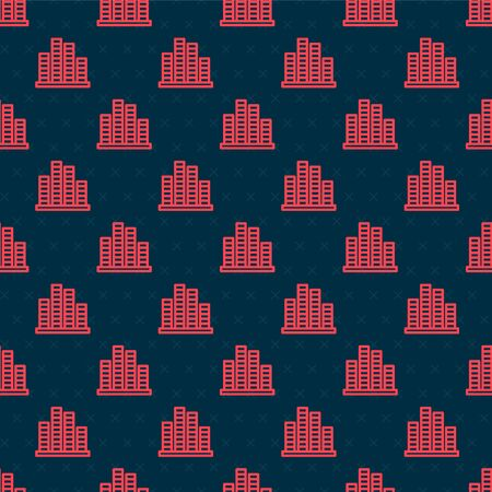 Red line Music equalizer icon isolated seamless pattern on black background. Sound wave. Audio digital equalizer technology, console panel, pulse musical. Vector Illustration