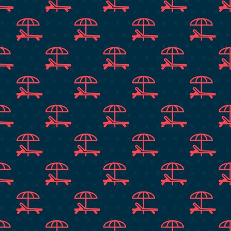 Red line Sunbed icon isolated seamless pattern on black background. Beach umbrella and Sun lounger. Vector Illustration Vettoriali
