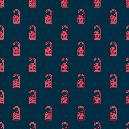 Red line Please do not disturb icon isolated seamless pattern on black background. Hotel Door Hanger Tags. Vector Illustration 向量圖像