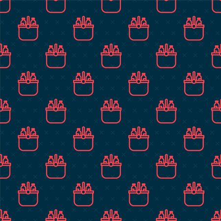 Red line Cooler bag and water icon isolated seamless pattern on black background. Portable freezer bag. Handheld refrigerator. Vector Illustration Vettoriali