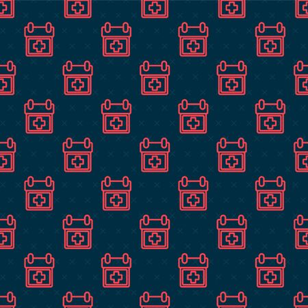 Red line Doctor appointment icon isolated seamless pattern on black background. Calendar, planning board, agenda, consultation doctor. Vector Illustration