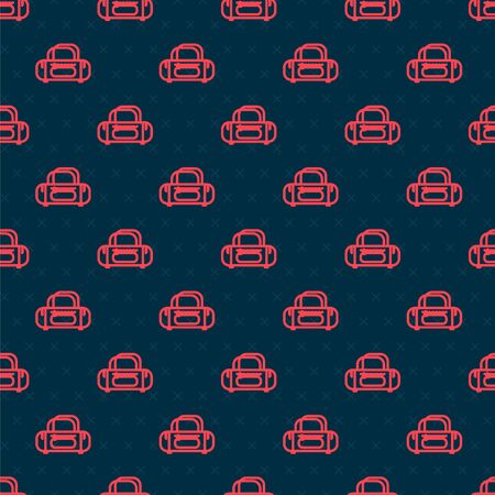 Red line Sport bag icon isolated seamless pattern on black background. Vector Illustration Stock Illustratie