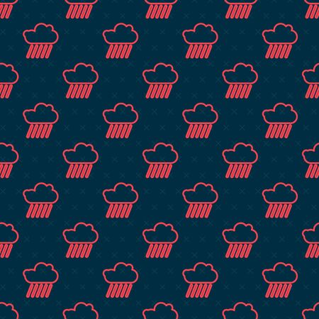 Red line Cloud with rain icon isolated seamless pattern on black background. Rain cloud precipitation with rain drops. Vector Illustration